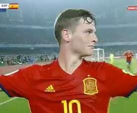 Sergio Gómez apontou um belo gol ante a Inglaterra. Twitter/GOL