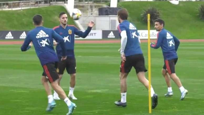 La Selección Española entrenó de cara sus dos próximos encuentros. Captura/SeFutbol