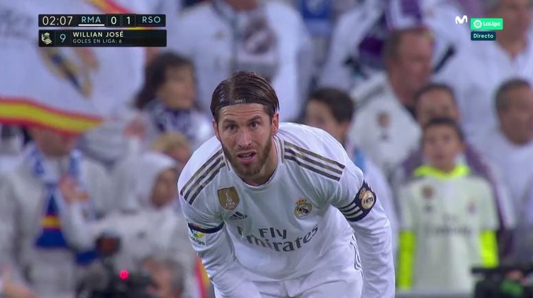 Une grossière erreur de Ramos offre le 0-1 à la Real Sociedad. Captura/MovistarLaLiga