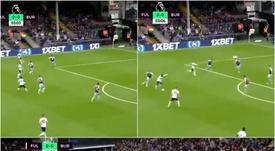 Seri opens the scoring for Fulham. Montaje/Captura/SNWL