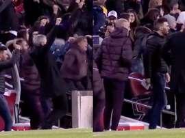 Le soulagement de Setién après le but de Messi. Twitter/FCBarcelona_es