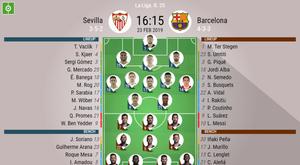 Sevilla v Barcelona, La Liga, GW 25 - Official line-ups. BESOCCER