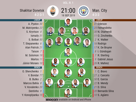 Shakhtar v Man City, Champions League 2019/20, matchday 1, 18/9/2019 - official line.ups. BESOCCER