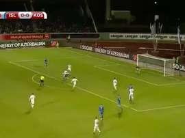 Sigurdsson puso el 1-0 ante Kosovo. Twitter/Casadelfútbol