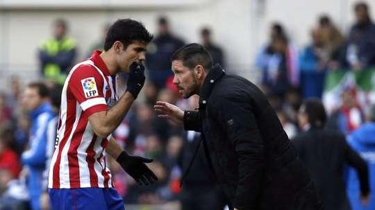 Simeone a essayé sans Costa à l'entrainement. EFE