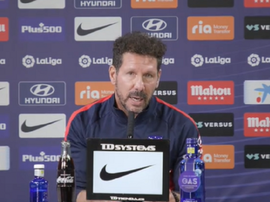 Simeone at the press conference. Screenshot/Atleti