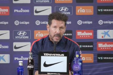 Simeone at the press conference. Screenshot/Atleti