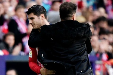 Morata ensalzó la figura de Simeone. AFP