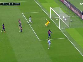 Smolov aproveitou a passividade defensiva do Barça para empatar. Captura/Movistar+