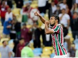 Sornoza jogador do Fluminense no jogo contra o Defensor URU. Twitter @FluminenseFC