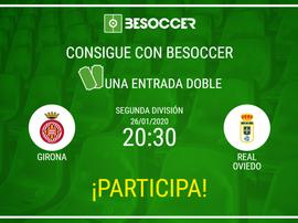 Consigue una entrada doble para el Girona-Oviedo. BeSoccer