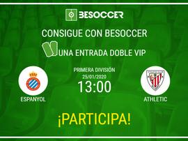 Consigue una entrada doble VIP para el Espanyol-Athletic. BeSoccer