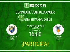 Consigue una entrada doble para el Málaga CF Fem-Alhama Fem. BeSoccer
