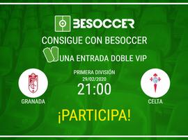 Consigue una entrada doble VIP para el Granada-Celta. BeSoccer