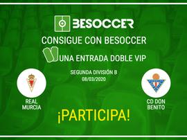 Consigue una entrada doble VIP para el Real Murcia-Don Benito. BeSoccer