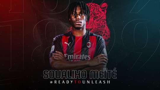 Meïté reforça o meio de campo do Milan. Twitter/ACMilan