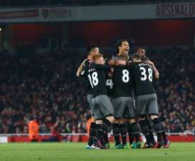 Southampton celebrate progressing through to the semi-finals of the EFL Cup. SouthamptonFC