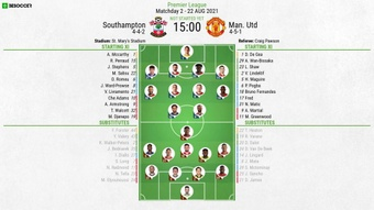 Southampton v Man United, Premier League 2021/22, matchday 2, 22/8/2021, line-ups. BeSoccer