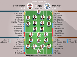 Southampton v Manchester City. Premier League 19/20 matchday 33, 05/07/2020. Official-line-ups. BeSo