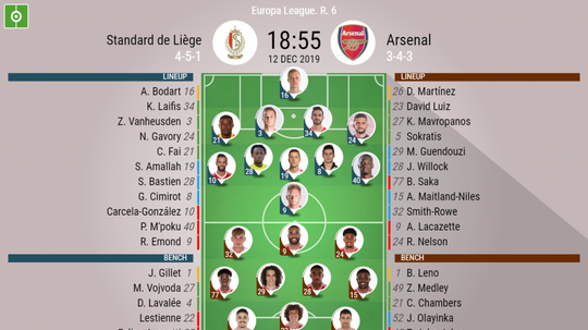Standard Liege v Arsenal, Europa League matchday 6, 12/12/19 - official-line-ups. BeSoccer