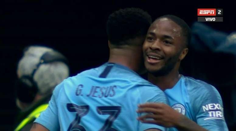 Sterling vole le but de Gabriel Jesus. Capture/ESPN2