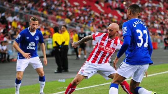 Ireland in pre-season action with Stoke City against Everton. AFP