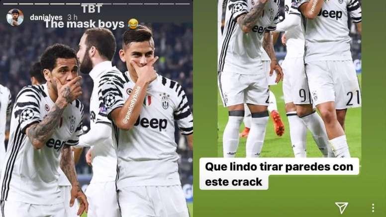 Dani Alves y Dybala se mandaron un guiño. Capturas/Instagram/danialves/paulodybala