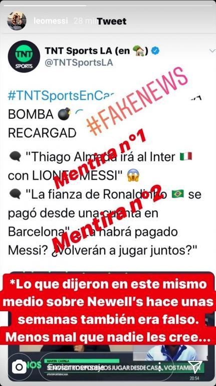 """Messi vuelve a estallar en Instagram: """"Fake news"""""""