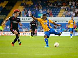 Striker Adi Yussuf (R) has been given a five-game ban. Mansfield FC