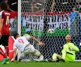 Szalai, tras marcar el gol contra Austria. UEFA