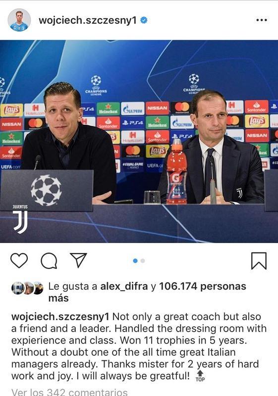 I bianconeri ringraziano Allegri sui social. Instagram/Szczesny
