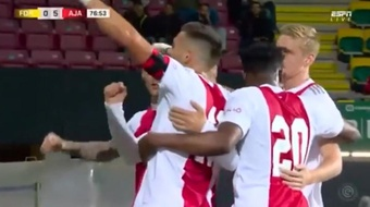 El Ajax venció 0-5 a domicilio en el feudo del Fortuna Sittard. Captura/ESPN