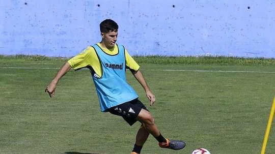 Tejero, durante un entrenamiento con el Albacete. Twitter/AlbaceteBPSAD