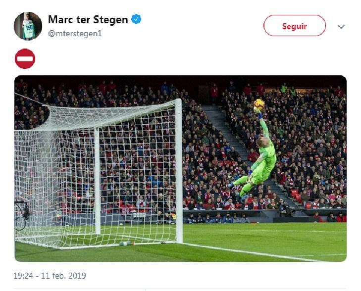 Ter Stegen se salió ante el Athletic. Twitter/MTerStegen