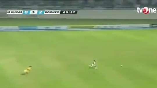 Terens Puhiri marcó el tercer gol del Borneo tras una brutal carrera. Twitter