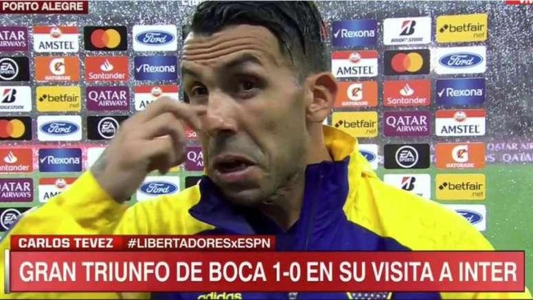 Tévez y su recuerdo a Diego. Captura/ESPN