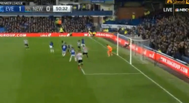 Walcott lifted the ball into the roof of the net to break the deadlock. Screenshot