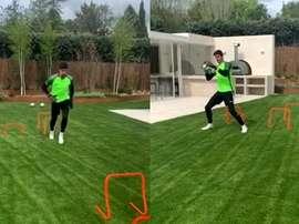 Courtois, treina em casa e se aproxima da volta após lesão. Capturas/Instagram/thibautcourtois