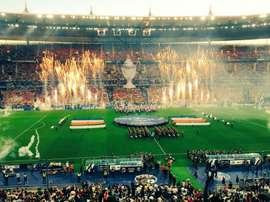 Tifo à l'ouverture de la finale de coupe de France. Capture/Twitter
