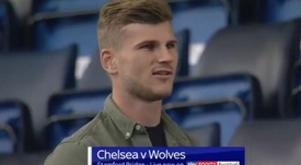 Werner was at the Chelsea game. Screenshot/SkySportsFootball