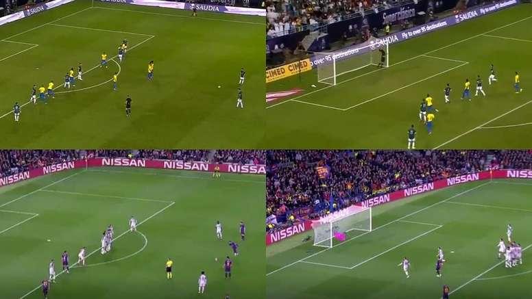 Messi repitió la falta del Liverpool ante Alisson. Capturas/DAZN - MovistarLigadeCampeones