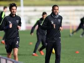 Tissone y Angeleri, en un entrenamiento con el Málaga. Twitter