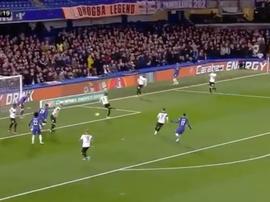 Tomori diverts the ball goalwards. Screenshot/SkySports
