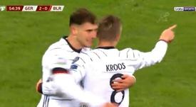 Un gol 'made in Kroos' para sentenciar a Bielorrusia. Captura/beINSports