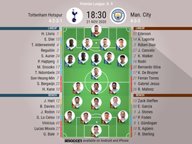 Tottenham Hostpur v Manchester City. Premier League 2020/21. Matchday 9, 21/11/2020-official line.up