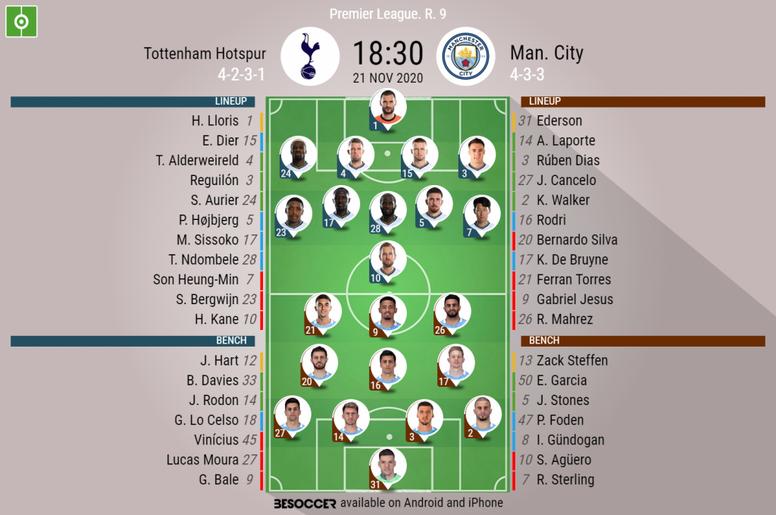 Tottenham Hostpur v Manchester City. Premier League 2020/21. Matchday 9, 21/11/2020-official line.up