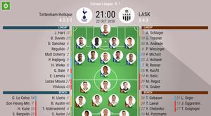 Tottenham Hotspurs v LASK. Europa League 20/21, 22/10/2020. Official-line-ups. BeSoccer