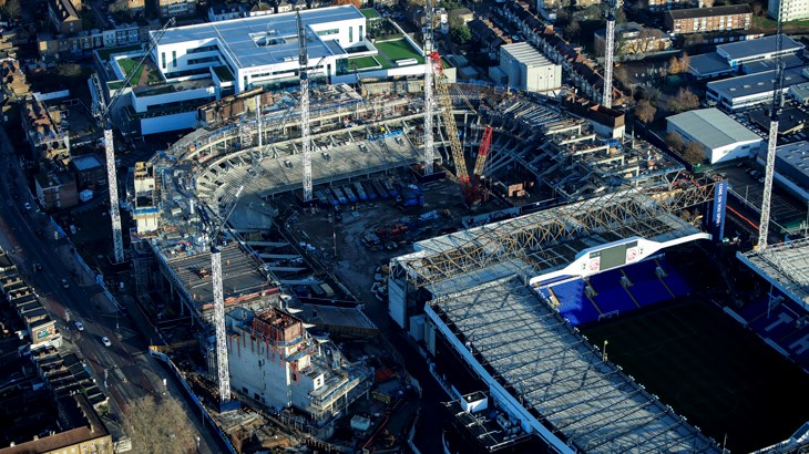 Tottenham's new stadium is being built on the same site as White Hart Lane. TottenamHotspurFC