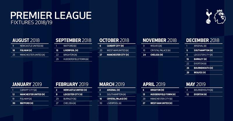 Premier League 18 19 Fixture Guide Tottenham Besoccer