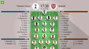 Tottenham v Arsenal, Premier League 2019/20, matchday 35, 12/7/2020 - Official line-ups. BESOCCER